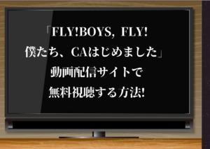 「FLY!BOYS, FLY! 僕たち、CAはじめました」(公式)動画配信サイトで無料視聴する方法!永瀬廉主演